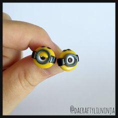 Minions Polymer Clay Kawaii Stud Earrings, polymer clay