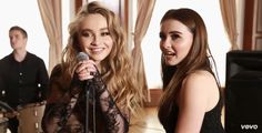 Sabrina Carpenter with her sister Sarah Carpenter on the set of her video clip of Eyes Wild Open.