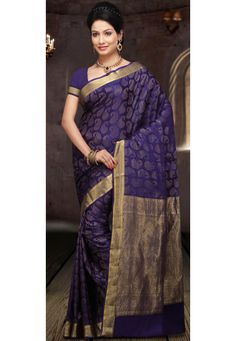 Purple Pure Mysore Silk Saree With Blouse: STC159A