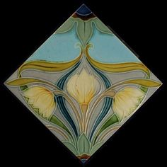 Art Nouveau tile, made by: Manufactures Céramique d'Hemixem, Gilliot & Cie, Hemiksem, Belgium. Made around 1900 The back is marked with H, which is common for this factory. Decoration in relief. The tile is in beautiful condition, some minor damage on the relief. A few minor scratches on the glaze. At the back, there are some traces of mortar. The tile measures 15.2 x 15.2 cm and is 1 cm thick. Will be packed carefully, shipments within the Netherlands via PostNL, international ship...