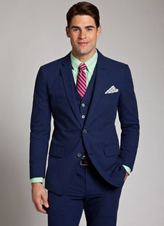 Men's Navy Blue Slim Fit Three-piece Suit - Wantering where will i find this suit for sale?