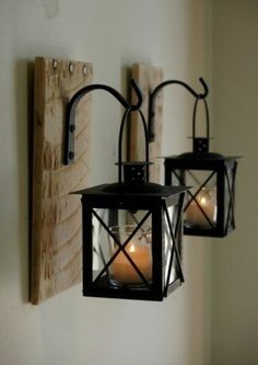 Lantern pair with wrought iron hooks on by pineknobsandcrickets 45