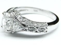 Vintage Style Oval Diamond Engagement Ring  - ES262