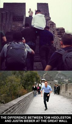 THE DIFFERENCE BETWEEN TOM HIDDLESTON AND JUSTIN BIEBER AT THE GREAT WALL.