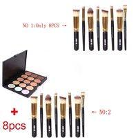 Wish | Size 1: 8Pcs Powder Brushes  Size 2:8Pcs Powder Brushes + 15 Colors Contour Face Cream Makeup Concealer Palette