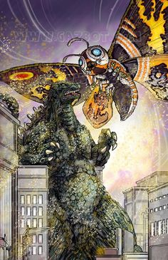 Mothra vs Godzilla by Gazbot on Etsy All Godzilla Monsters, Godzilla Toys, Cool Monsters, Classic Monsters, Godzilla Comics, King Kong, Godzilla Tattoo, Godzilla Wallpaper, Female Monster