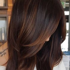 Low Light Hair Color, Light Brown Hair, Dark Brown Hair With Low Lights, Dark Red, Dark Ombre, Ombre Brown, Short Ombre, Dark Hair With Highlights, Copper Highlights