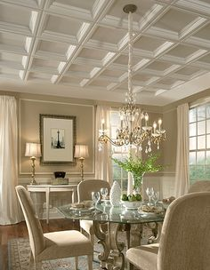 Spectacular dining room; soft, neutral colors, beautiful coffered ceiling!