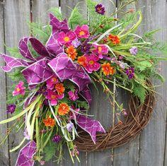 Spring Wreath Spring/Summer Wreath Spring Wreath by HornsHandmade Spring Door Wreaths, Easter Wreaths, Summer Wreath, Silk Flower Wreaths, Sunflower Wreaths, Floral Wreaths, Ribbon Wreaths, Purple Wreath, Lavender Wreath