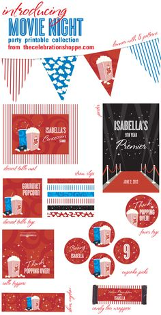 Movie Theater Party Printable Supplies from thecelebrationsho. ~ DIY party concession stand + 14 more items by lorene Kids Movie Party, Movie Theater Party, Movie Night Party, Party Time, Backyard Movie Nights, Party Printables, Birthday Party Themes, Diy Party, Party Ideas