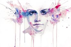 """""""Agnes Cecile"""" is a pseudonym for Italian artist Silvia Pelissero. Born in Rome in 1991 stunning eyes pink blue watercolor portrait painting art design woman drip dribble splash splatter painting Watercolor Portrait Painting, Watercolor Art Diy, Painting Of Girl, Painting Art, Silvia Pelissero, Agnes Cecile, Girls With Flowers, Monster, Art Design"""