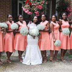 , a bride selects a few of her closest companions to take a vow of indentured servitude otherwise known becoming a bridesmaid. Orange Bridesmaid Dresses, Knee Length Bridesmaid Dresses, Designer Bridesmaid Dresses, Bridesmaid Robes, Coral Bridesmaids, Boho Wedding Guest Dress, Wedding Party Dresses, Maid Of Honour Dresses, Flower Girl Dresses