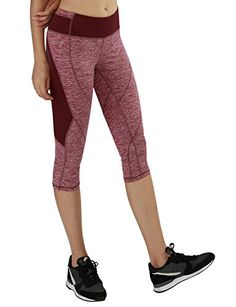 Yoga Reflex  Womens Fold Over Yoga Capri Pants  Fitness Workout Capris  RedHeather  Medium -- Want additional info? Click on the image.
