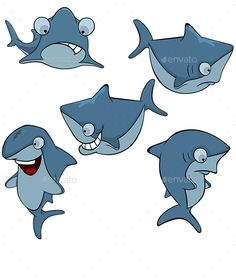 Set of Cartoon Sharks - Animals Characters