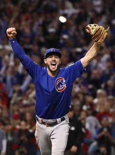 Kris Bryant of the Chicago Cubs celebrates after winning in Game Seven of the 2016 World Series at Progressive Field on November 2016 in Cleveland, Ohio. Get premium, high resolution news photos at Getty Images Chicago Cubs History, Chicago Cubs World Series, Cubs Players, Cubs Team, Mlb Games, Cubs Win, We Are The Champions, Third Base, Cubs Baseball