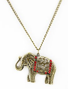Cute Chic Folk-custom Section Wooden Elephant Sweater Necklace Jewelry