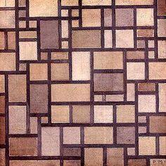Composition. Plans de couleurs aux contours gris clair (1918) Piet Mondrian.