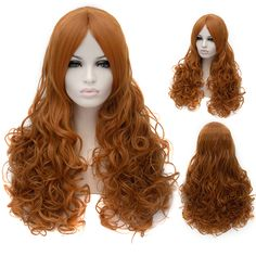 Online Wigs Long Curly Orange Golden Capless Wigs for Women 69a6ae79a5