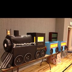 Polar express train. My aunt made out of boxes.                                                                                                                                                                                 More