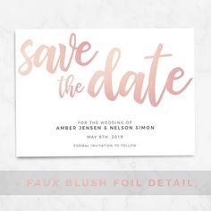 Blush Save The Date Printable Template Editable Download