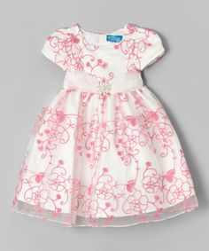 Another great find on #zulily! Angels Couture Beige & Pink Floral Lace Overlay Dress - Toddler & Girls by Angels Couture #zulilyfinds