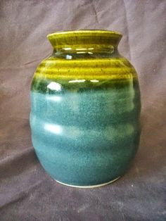 Blue and green Vase by Angela Graham by AngelaNGraham on Etsy