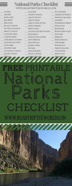 Free Printable National Parks (USA) Checklist - Keep Track Of What National Parks You Have Visited and Which National Parks are Still Waiting For You! Oh The Places You'll Go, Places To Travel, Places To Visit, Vacation Spots, Vacation Destinations, Vacations, Vacation Wishes, Trekking, National Parks Usa
