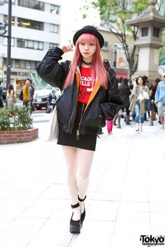 Pink Hair & Bowler Hat w/ Chicago Bulls Top, Lanvin & Vivienne Westwood in Harajuku