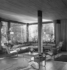 Alvar Aalto, interior from the Villa Mairea, Noormarkku, Finland 1938-1939. Living room area with specially designed tea trolley model nr.900. Courtesy of the Alvar Aalto Museum. / Telegraph