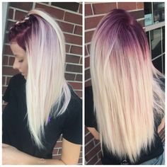 17 Greatest Red Violet Hair Color Ideas Trending in 2019 - Style My Hairs Red Violet Hair, Violet Hair Colors, Hair Dye Colors, Gorgeous Hair Color, Cool Hair Color, Blonde Hair With Roots, Hair Color Caramel, Ombre Hair, Burgundy Hair Ombre