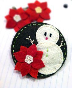 Winter Snowman with Red poinsettia Wool Blend felt brooch