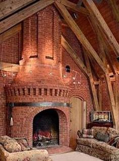 Clay Chapman Brick monumental fireplace design in The Daulton House with the classic and amazing look