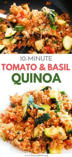 Easy Tomato & Basil Quinoa Risotto - GF, Vegetarian/Vegan Option - Beauty Bites - Tomato and basil quinoa recipe! Healthy and easy vegetarian dinner recipe that is great as a weekni - Quinoa Recipes Easy, Veggie Recipes, Whole Food Recipes, Salmon Recipes, Quinoa Dinner Recipes, Vegetarian Quinoa Recipes, Tomato Quinoa Recipe, Easy Vegitarian Dinner Recipes, Recipe Using Quinoa