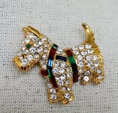 Vintage KJL Scottie Dog Rhinestone Pin Kenneth Jay Lane #KJL