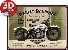 Plaque métal Harley Davidson Knucklehead 3D #decoration #retro #plaque