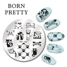 Aliexpress.com : Buy BORN PRETTY Round 5.5cm Nail Art Stamp Template Cute Cats Design Image Plate BP 102 from Reliable plate plastic suppliers on BeautyLadyNailart