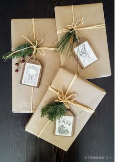 Christmas Gift Wrapping - DIY Wood Gift Tags Christmas gift suggestions – uncommon Xmas ideas Out of all the things that we've currently disc Creative Christmas Gifts, Christmas Gift Wrapping, Holiday Gifts, Christmas Packages, Christmas Christmas, White Christmas Trees, Christmas Gift Decorations, Santa Gifts, Elegant Christmas