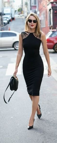 Black cut-out knee length dress, black pointed toe pumps, black bag, sunglasses + red lip. Night Outfits, Dress Outfits, Fashion Dresses, Outfit Night, Work Dresses, Dresses Dresses, Girls Dresses, Pencil Dresses, Beach Outfits