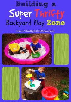 How to build a super thrifty backyard play zone from some of the thriftiest places in your neighborhood! + Pictures and supply list for building a Mom Made Sand Box