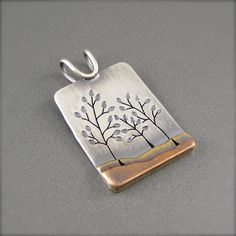 Family Tree Pendant Mixed Metal by BethMillnerJewelry on Etsy, $225.00