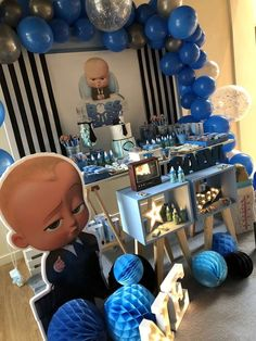 Check out this cool Baby Boss Birthday Party. The dessert table is so much fun! See more party ideas and share yours at CatchMyParty.com #catchmyparty #bossbaby #bossbabybirthdayparty #boybirthdayparty #bossbabydesserttable #boybirthdaydesserttable