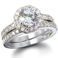 Phoebe's Octagon Shape CZ Wedding Ring Set