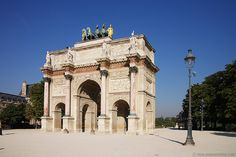 The Arc du Carrousel is the smallest of three arches on the triumphal way between the Louvre Museum and La Défense. The top of the arch originally featured four gilded horses taken from St. Mark's Square in Venice.