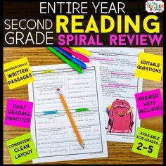 2nd Grade Reading Homework or Morning Work | 2nd Grade Rea