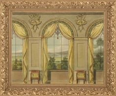 Regency Era Curtains 1809-1828 from vintage issues of Ackermann's Repository. Various images can be seen at http://www.ekduncan.com/2011/11/regency-era-curtains-ackermanns.html