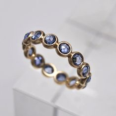 Blue sapphire ring  18k gold by Onestonenewyork on Etsy, $1425.00