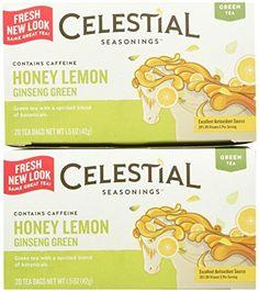 Celestial Seasonings Honey Lemon Ginseng Green Tea Bags, 20 ct, 2 pk * Read more at the image link.