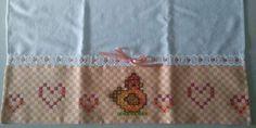 Bordado em tecido xadrez - Amostra de Bordado/Pano de Copa (Detalhes sobre o bordado... Visitar)