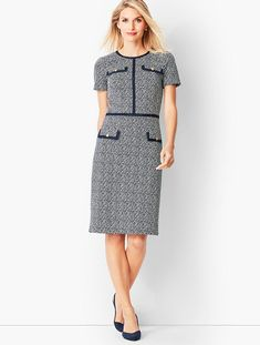 Shop Talbots for modern classic women's styles. You'll be a standout in our Textured Stripe Ponte Sheath Dress - only at Talbots! Fall Fashion Outfits, Fashion Dresses, Womens Fashion, Autumn Fashion Grunge, Classic Style Women, Modern Classic, Dress Silhouette, Work Attire, Simple Dresses