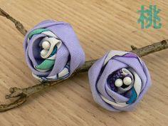 Tsumami kanzashi earrings fabric flowers. Roses to by MomoKanzashi
